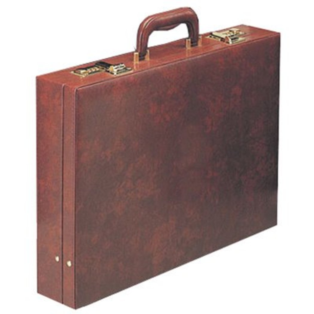 Burgundy Attorney Briefcase Locking Compartment Professionals - Diamond Home USA