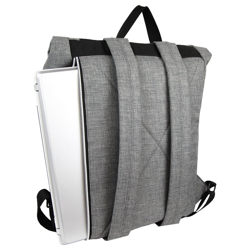 School College Student Unisex Spacious Text Book XBOOST 15-inch Laptop / Computer Organizer Daily Backpack Bag Grey Solid Fabric Polyester Flapover Compartment - Diamond Home USA