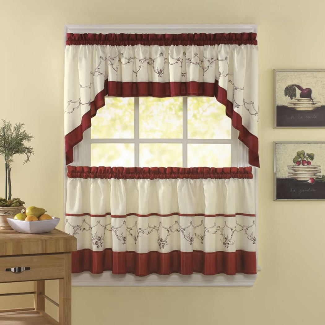 Floral Embroidered Kitchen Tiers Set Flower Kitchen Curtains Log Cabin Lodge Cottage Bohemian Window Treatment Garden Themed Traditional Polyester