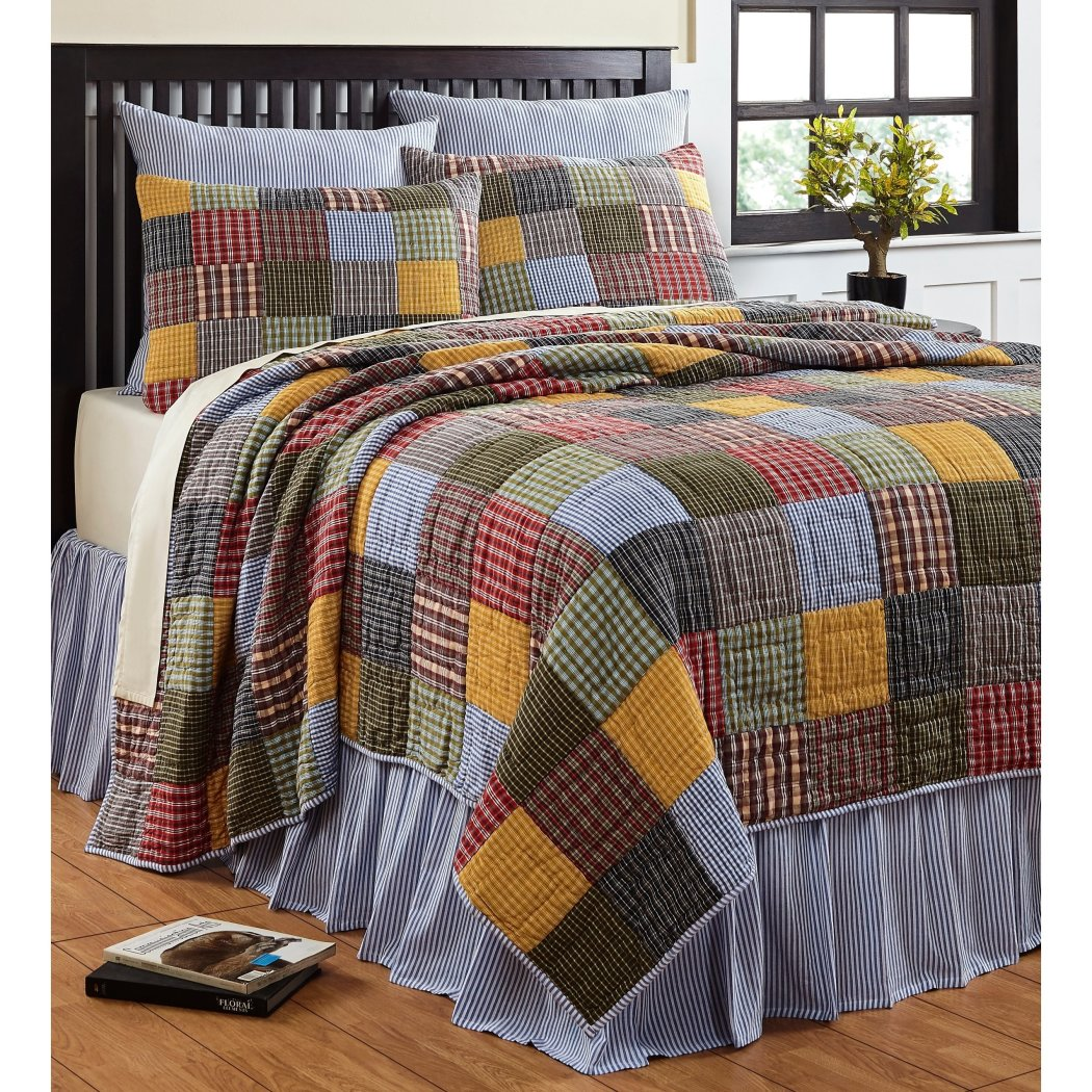 Madras Plaid Quilt Set Patchwork Checkered Bedding Tartan Check Patch Work Lodge Cabin Themed Country Woven Pattern Green