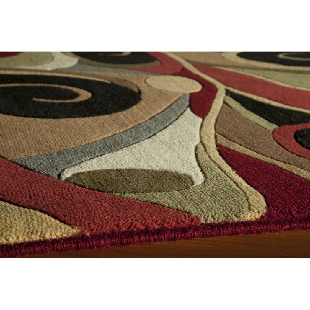 "2'6""x7'6"" Brown Beige Red Abstract Multicolored Blends Printed Runner Rug Indoor Graphical Pattern Living Room Rectangle Carpet Graphic Art Themed - Diamond Home USA"