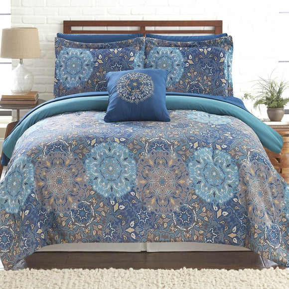 Medallion Geometric Comforter Set Motif Floral Design Bohemian Adult Bedding Master Bedroom Casul