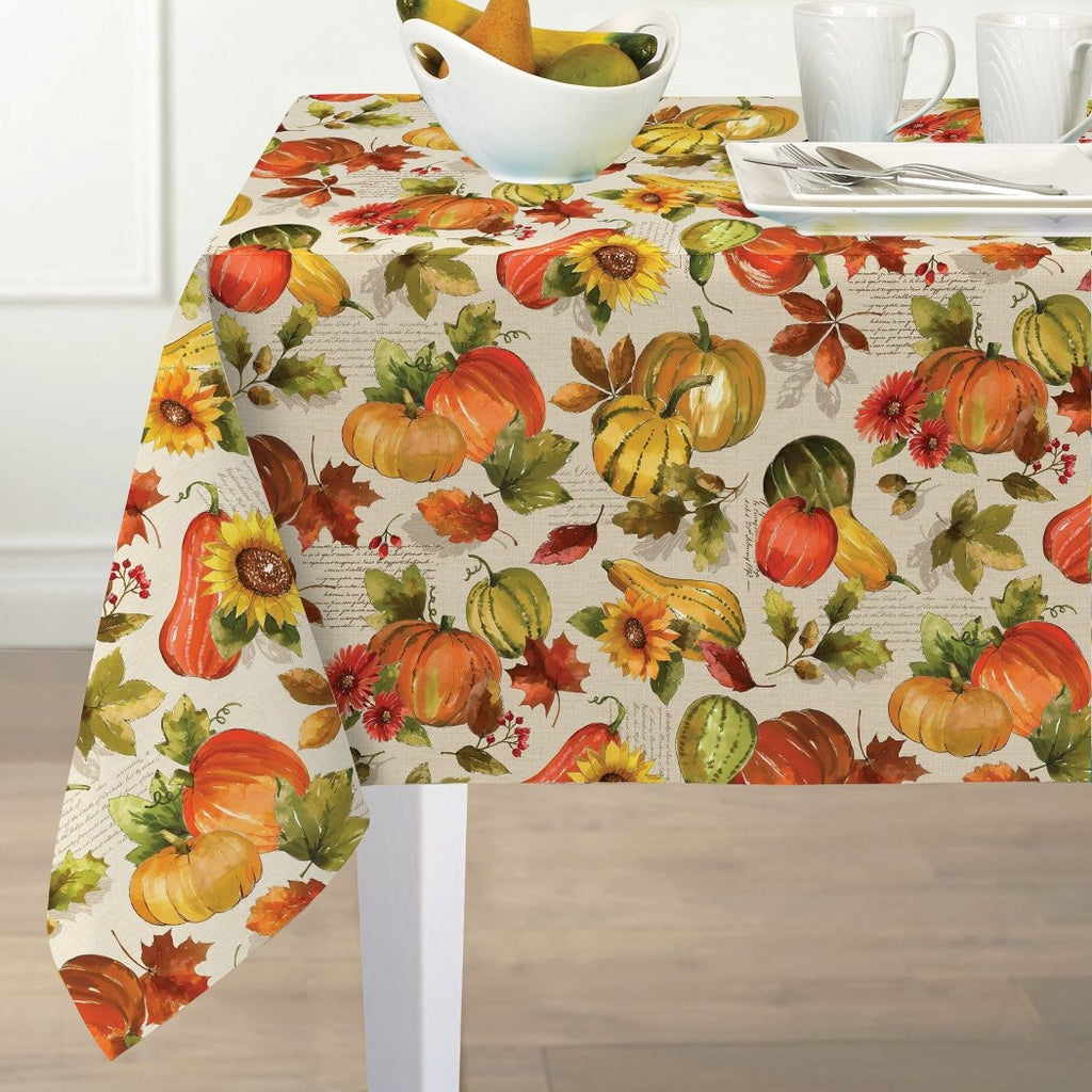 Season Fruit Flower Water Printed Tablecloth Papaya Sunflower Gerbera Floral Leaf Oblong Large Dining Table Cover