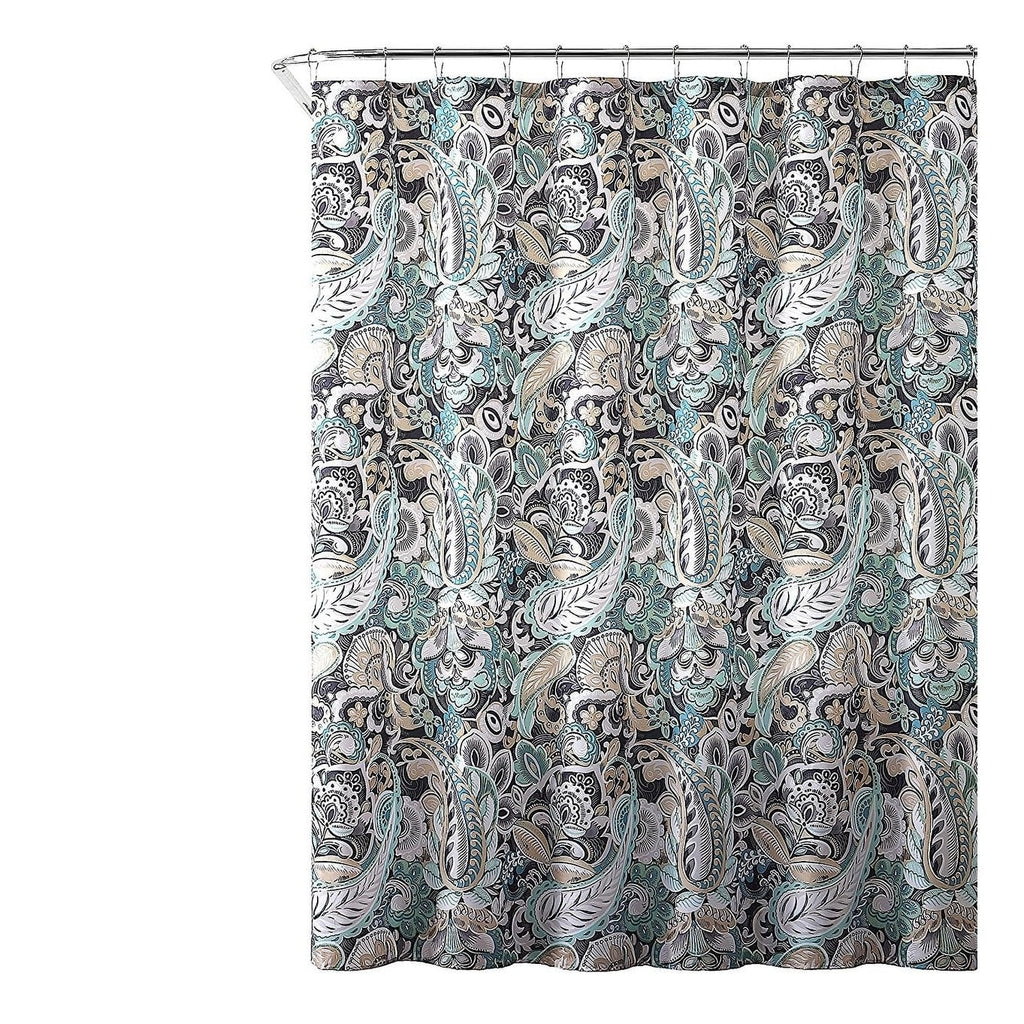 "Gray Mint Green Beige Fabric Shower Curtain 72"" x Brown Graphic Print Victorian Polyester - Diamond Home USA"