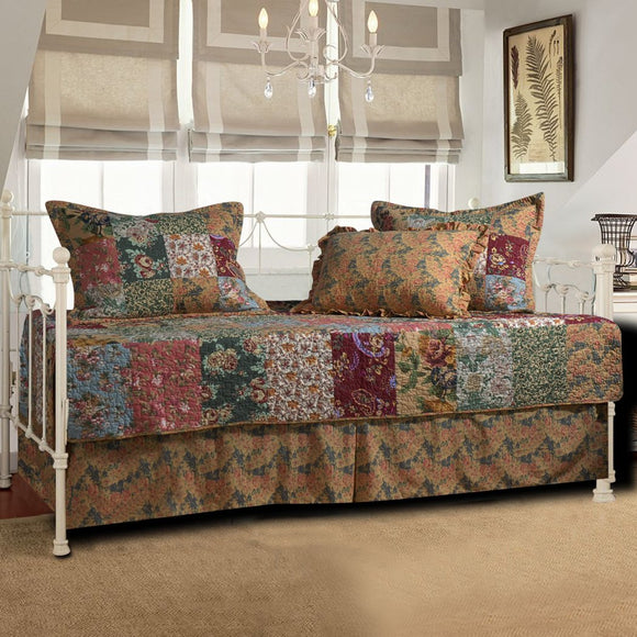 Red Brown Plaid Daybed Set Bedding Geometric Floral Motif Checked Flower Checkered Square Flowers Design Pattern Day Bed Bedskirt Pillows Polyester - Diamond Home USA