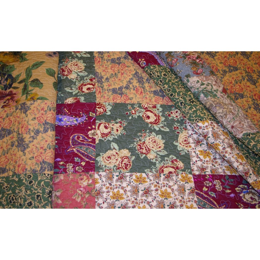 Oversized Bedspread Quilt Set Floor French Country Patchwork Pattern Floral Paisley Prints Moss
