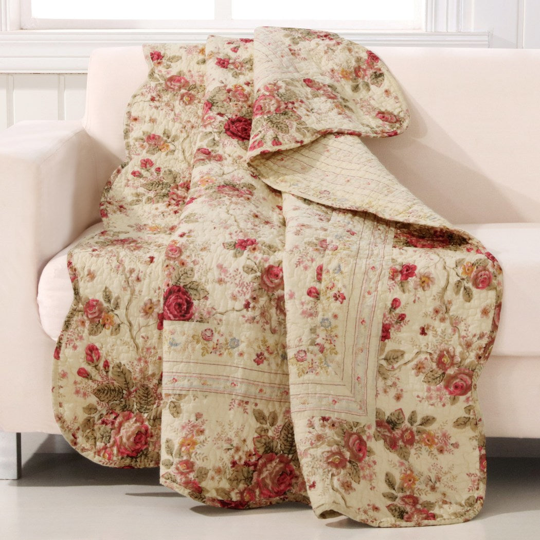 Girls Antique Pink Red Rose Victorian Themed Throw Blanket French Country Bedding Rich Gold Florals Ivory Cream Neutral Vintage Cotton Sofa Royal - Diamond Home USA