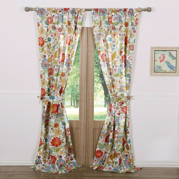 Girls Floral Pattern Curtain Panel Pair Window Drapes Kids Themed Nature Lined Rod Pocket Modern Playful Luxurious