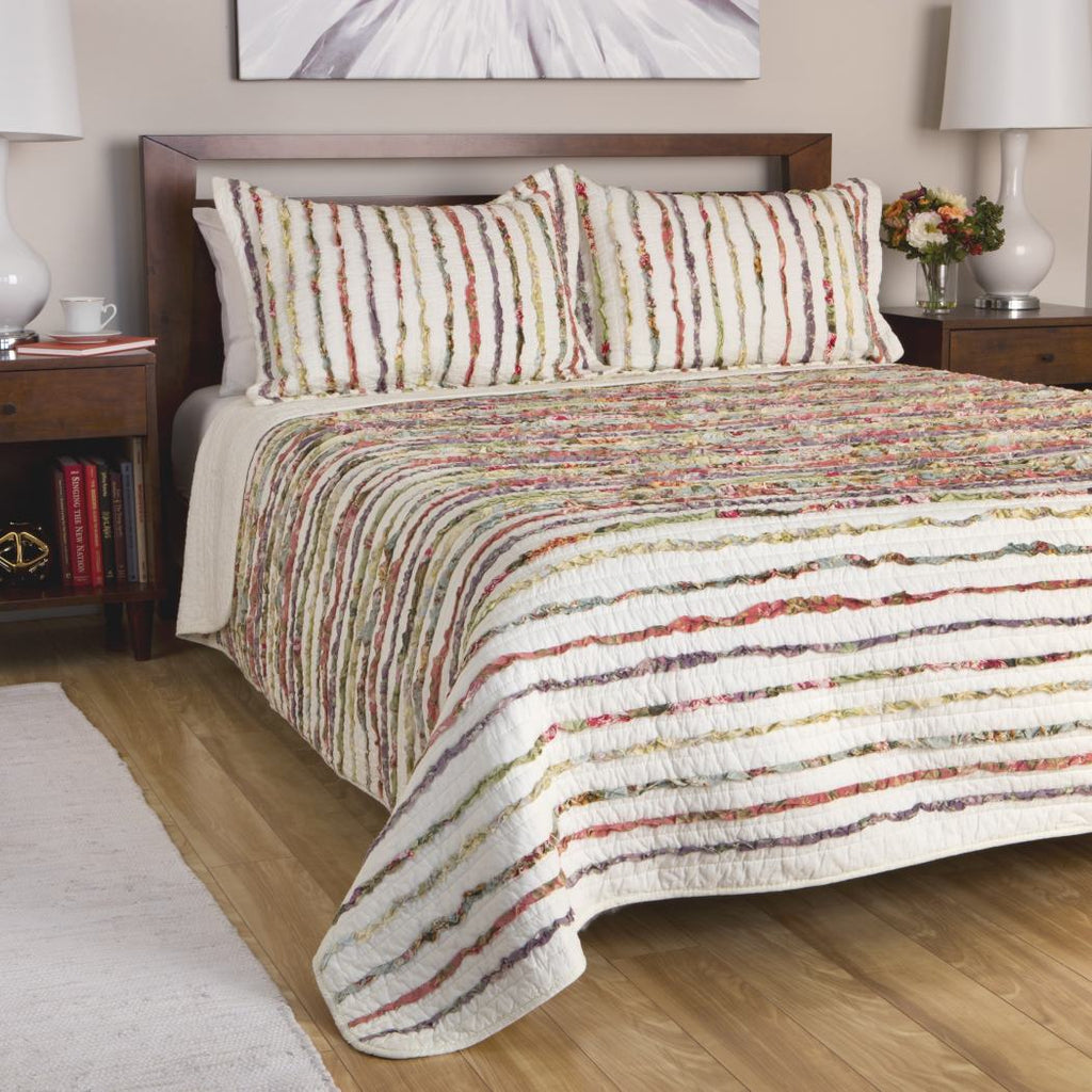 Quilt Set Floral Ruffles Cotton Comfort Bedding Queen