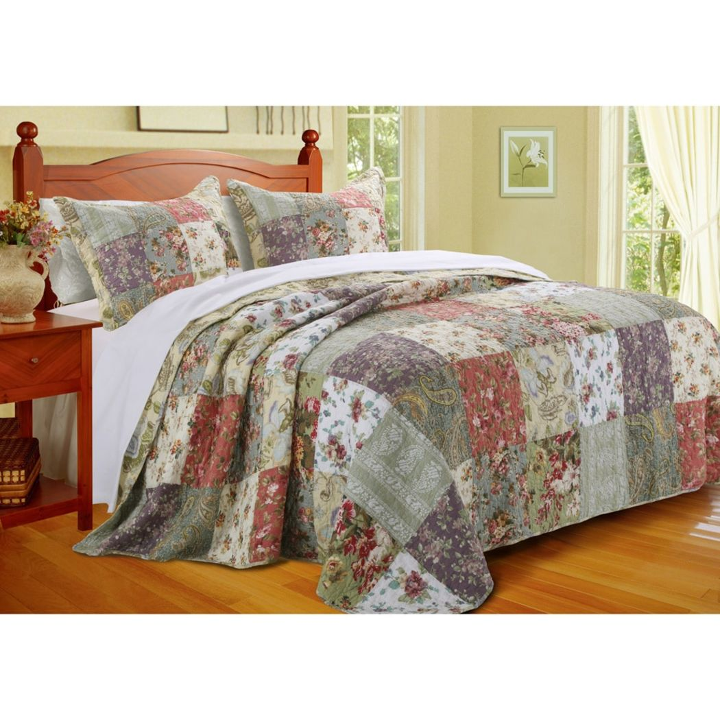 Oversized Bedspread Set Floor Country Cottage Patchwork Quilt Floral Squares Pattern Beautiful