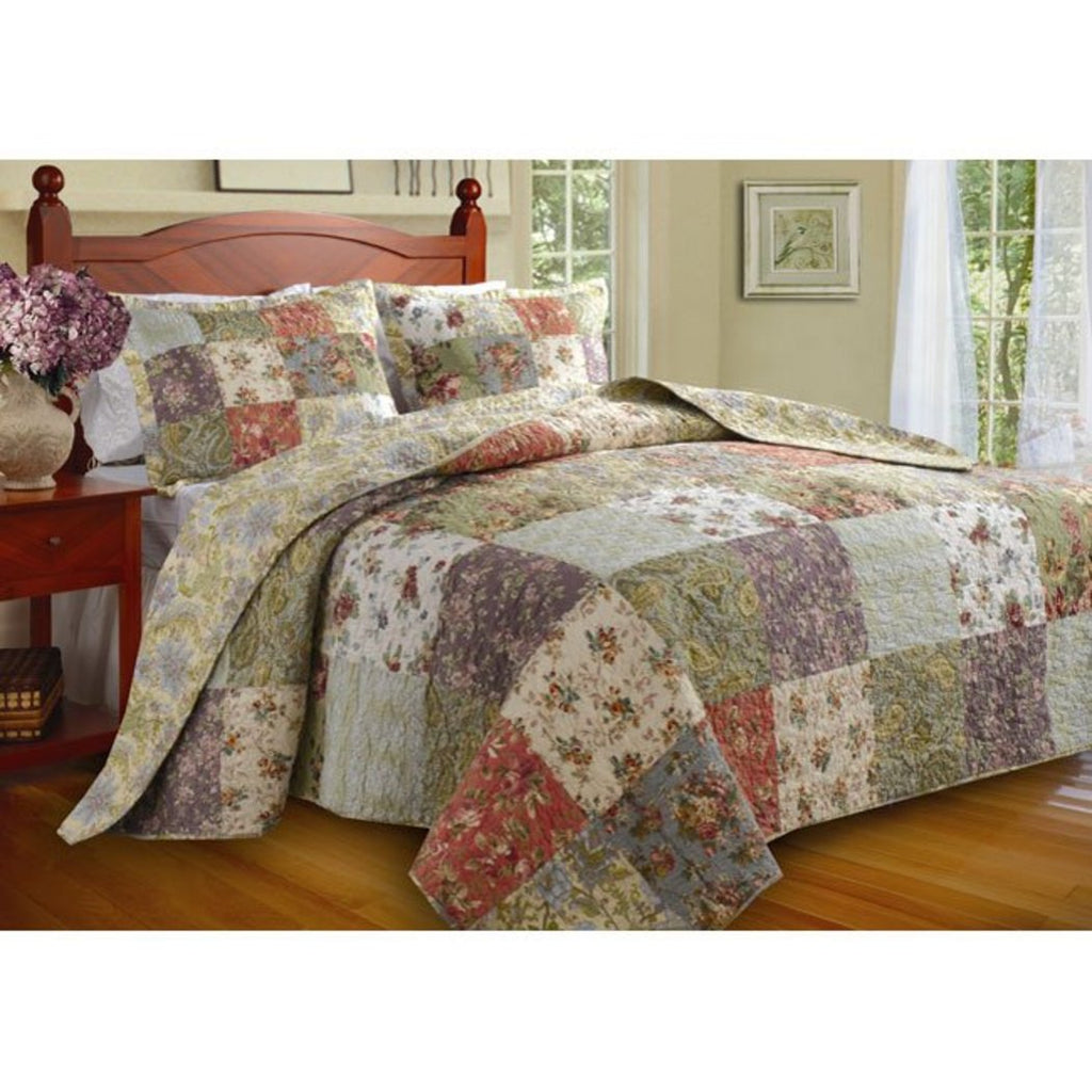 Oversized Patchwork Bedspread Set Quilted French Country Damask Floral ic Flowers Pattern Prairie Themed Farmhouse Charm Cottage