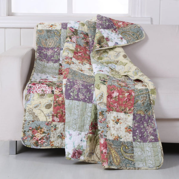 Block Patchwork Victorian Themed Throw Blanket French Country Bedding Floral Pattern Sofa Jacobian Quilt Cotton Anitque Vintage White Green Red Blue - Diamond Home USA