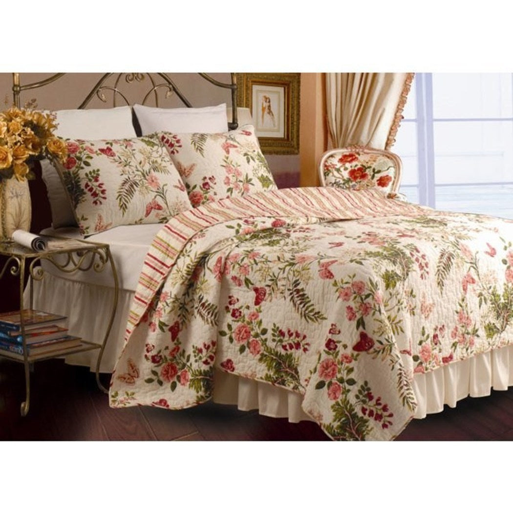 Cotton Floral Prints Design Stripes Quilt Set Bedroom Pieces