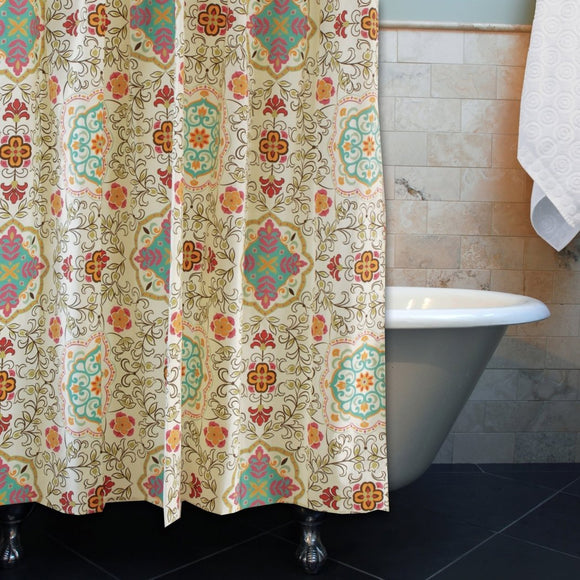 Girls Bohemian Themed Shower Curtain Southwest Tribal Florals Bathroom Pattern Blue Off White Pink Hippie Hippy Indian Native Spice Flowers Polyester - Diamond Home USA