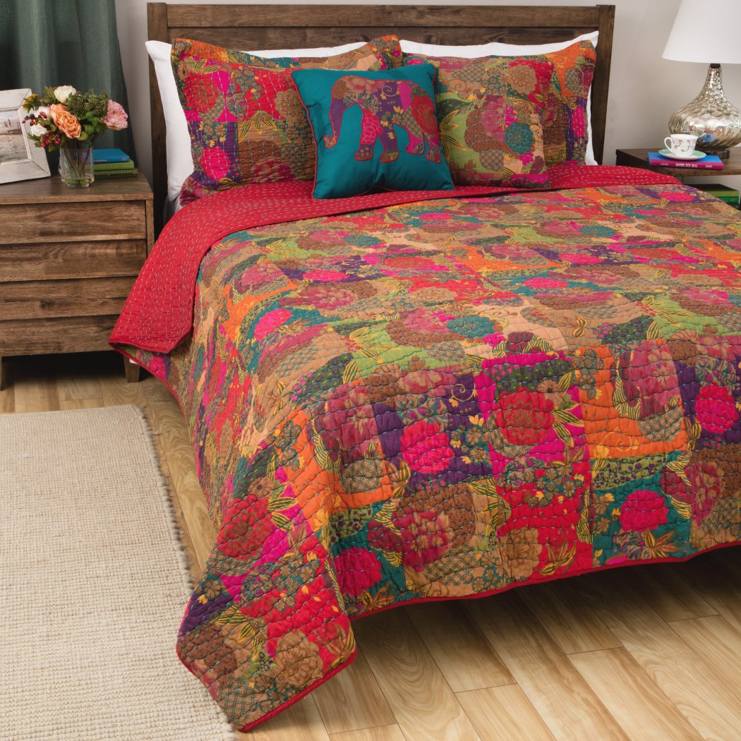 Southwestern Theme Quilt Set Abstract Floral Block Motif Flower Pattern Bedding Oriental Vintage Nature Flowers Fruit