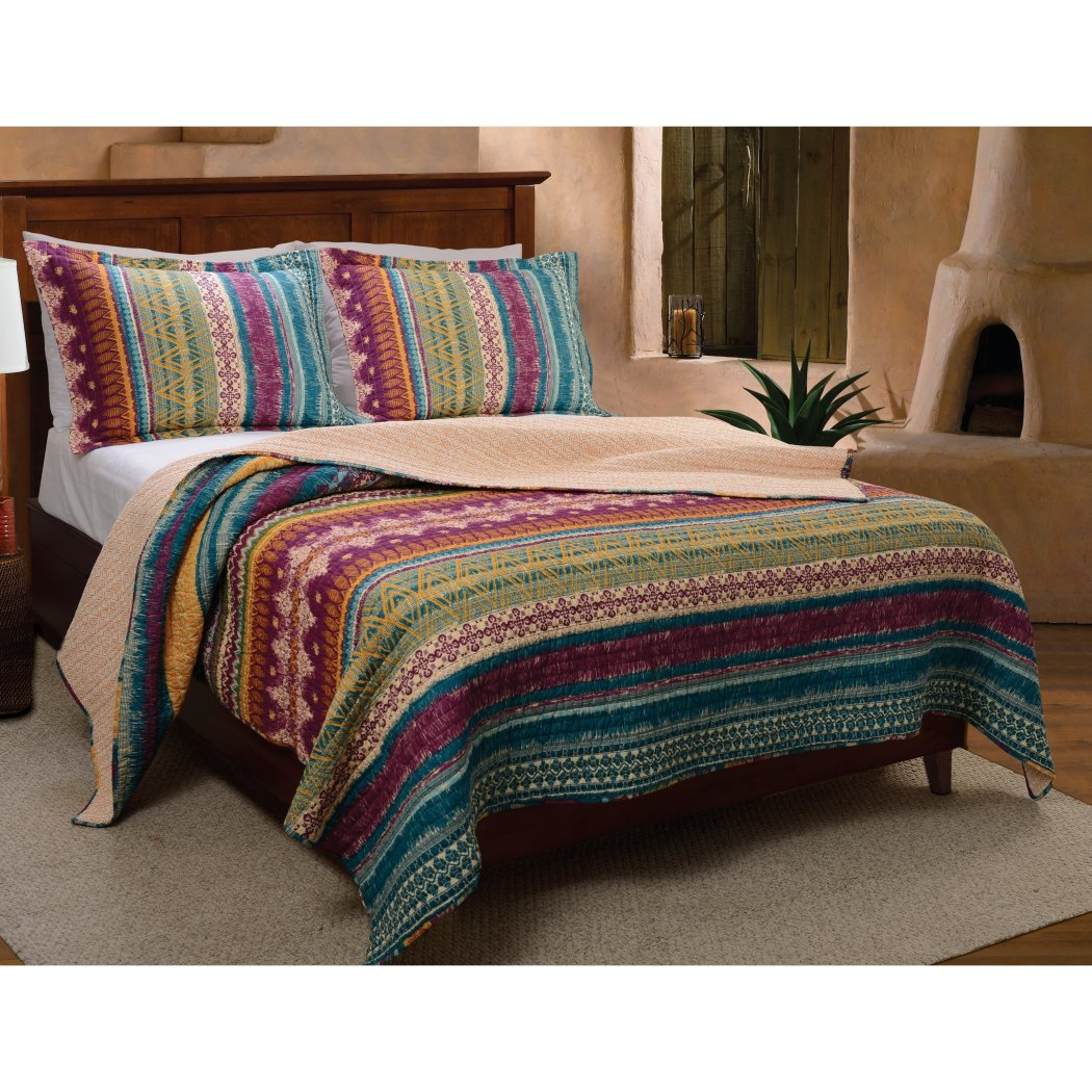 Southwest Country Lodge Bedding Quilt Set Vibrant Western Native Tribal Art Motif Pattern Cotton Bedding