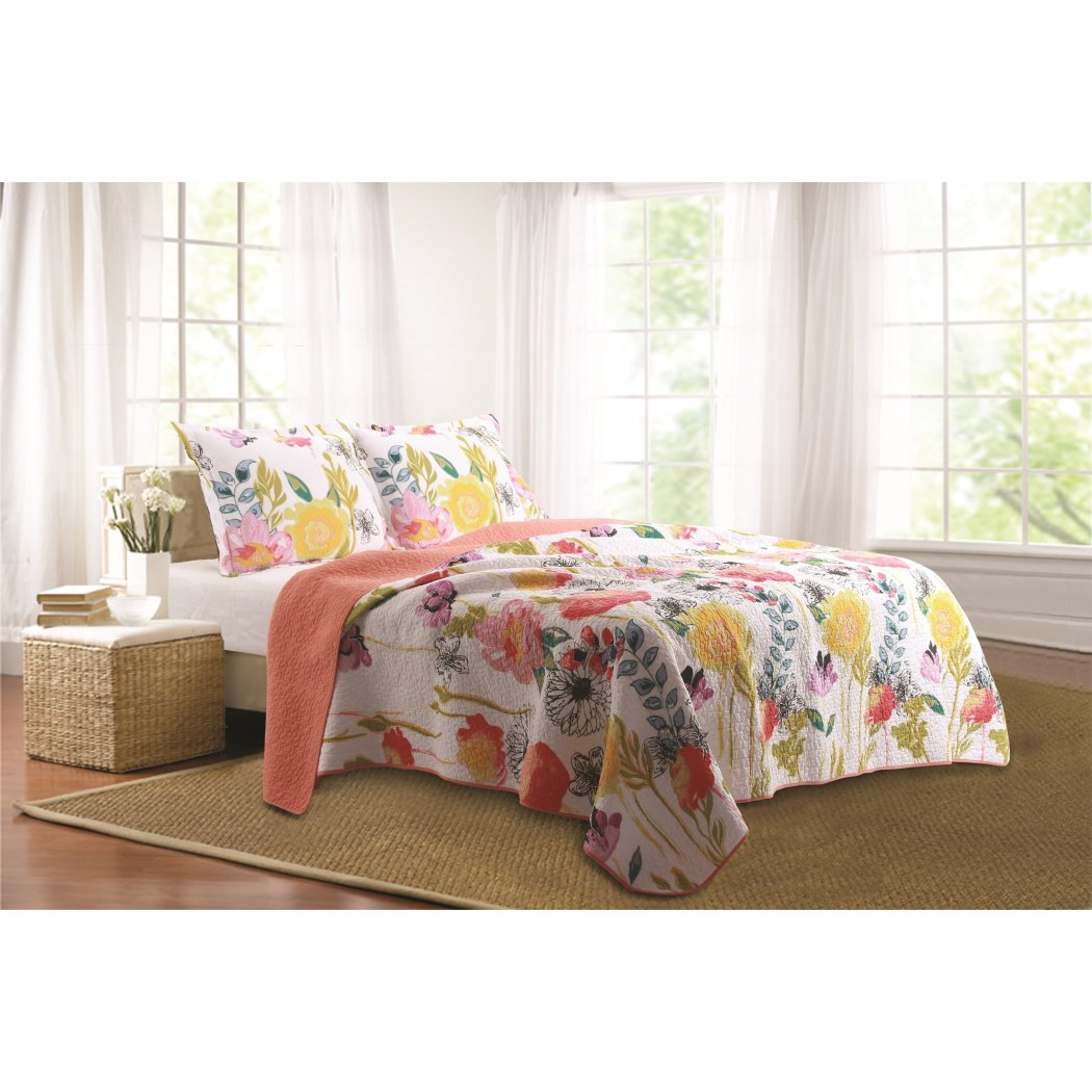 Bright Colourful Floral Bedspread Quilt Set Cotton
