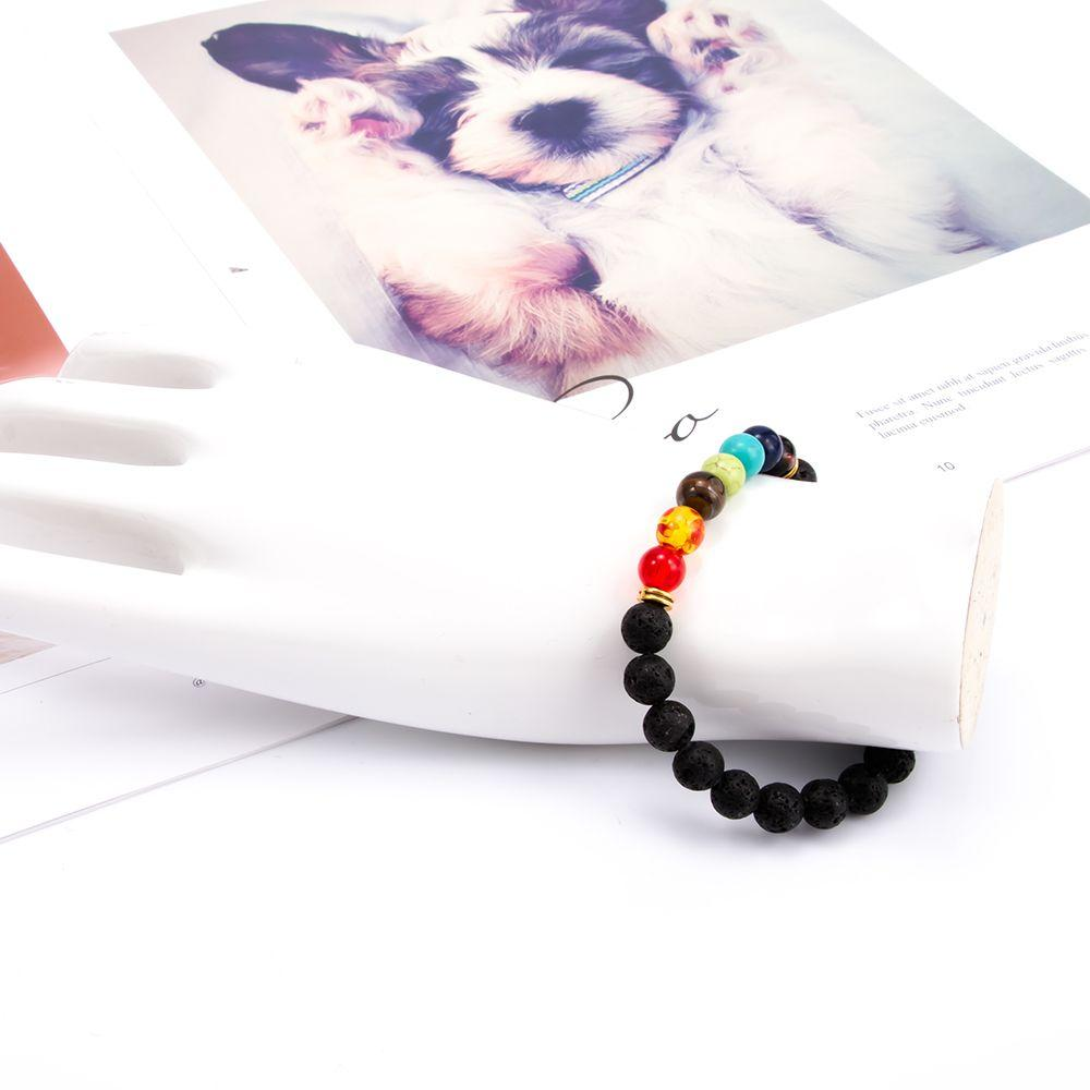 1 pcs Fashion Style 7 Chakra Healing Beaded Bracelet Natural Lava Stone Diffuser Bracelet Jewelry armbanden voor vrouwen