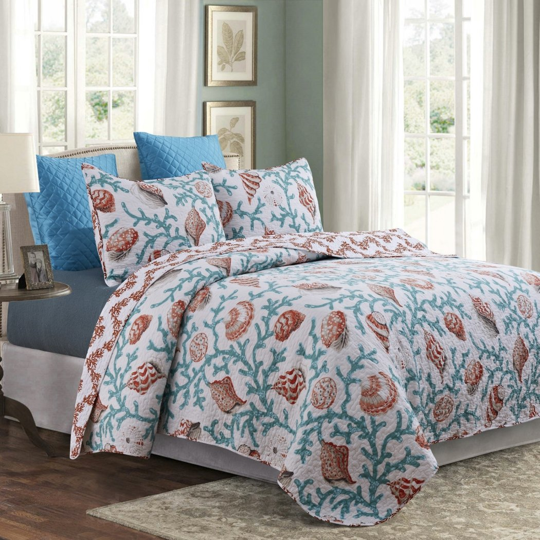 Beach Quilt Set Coastal Themed Bedding Ocean Cottage Cabin Nautical Sea Shell Summer Chic Stylish
