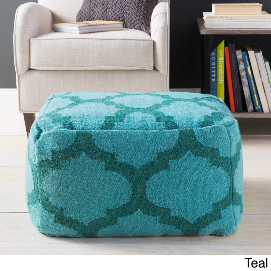 Square Shape Ottoman Geometric Pattern Foot Stool Polyester Wool Contemporary Handcrafted Trellis Design Whimsical Versatile Green