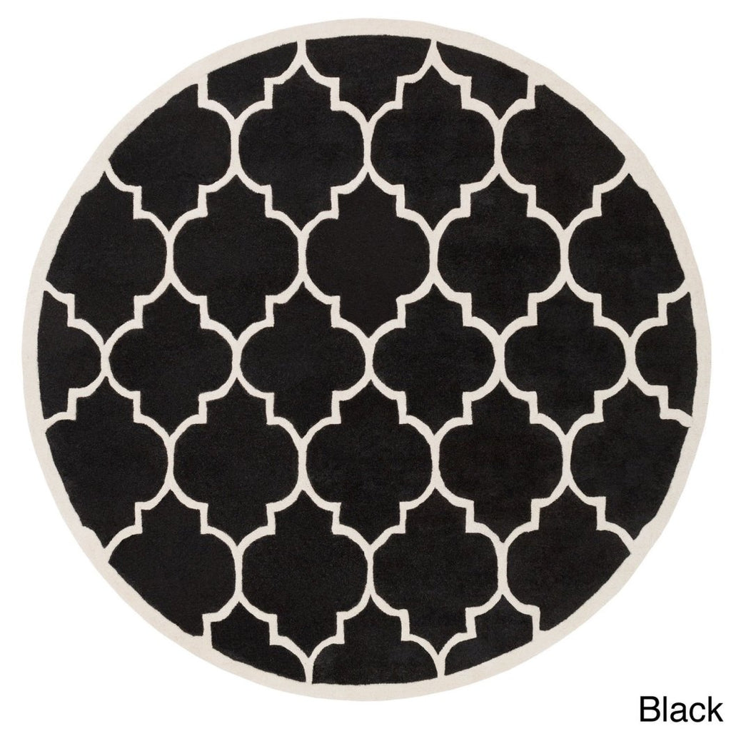 Moroccan Trellis Pattern Area Rug (3'6) Hand Tufted Geometric Theme Round Shape Carpet Artistic Txtured Design Features Latex Free Single Round