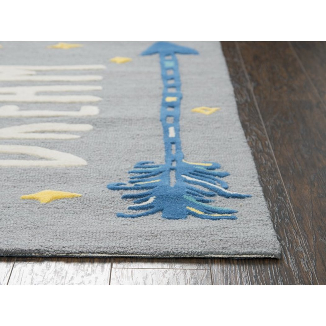 3'x5' Kids Blue Grey Word Art Tribal Arrow Spear Printed Area Rug Indoor Graphical Pattern Playroom Rectangle Carpet Graphic Art Themed Vibrant Color - Diamond Home USA