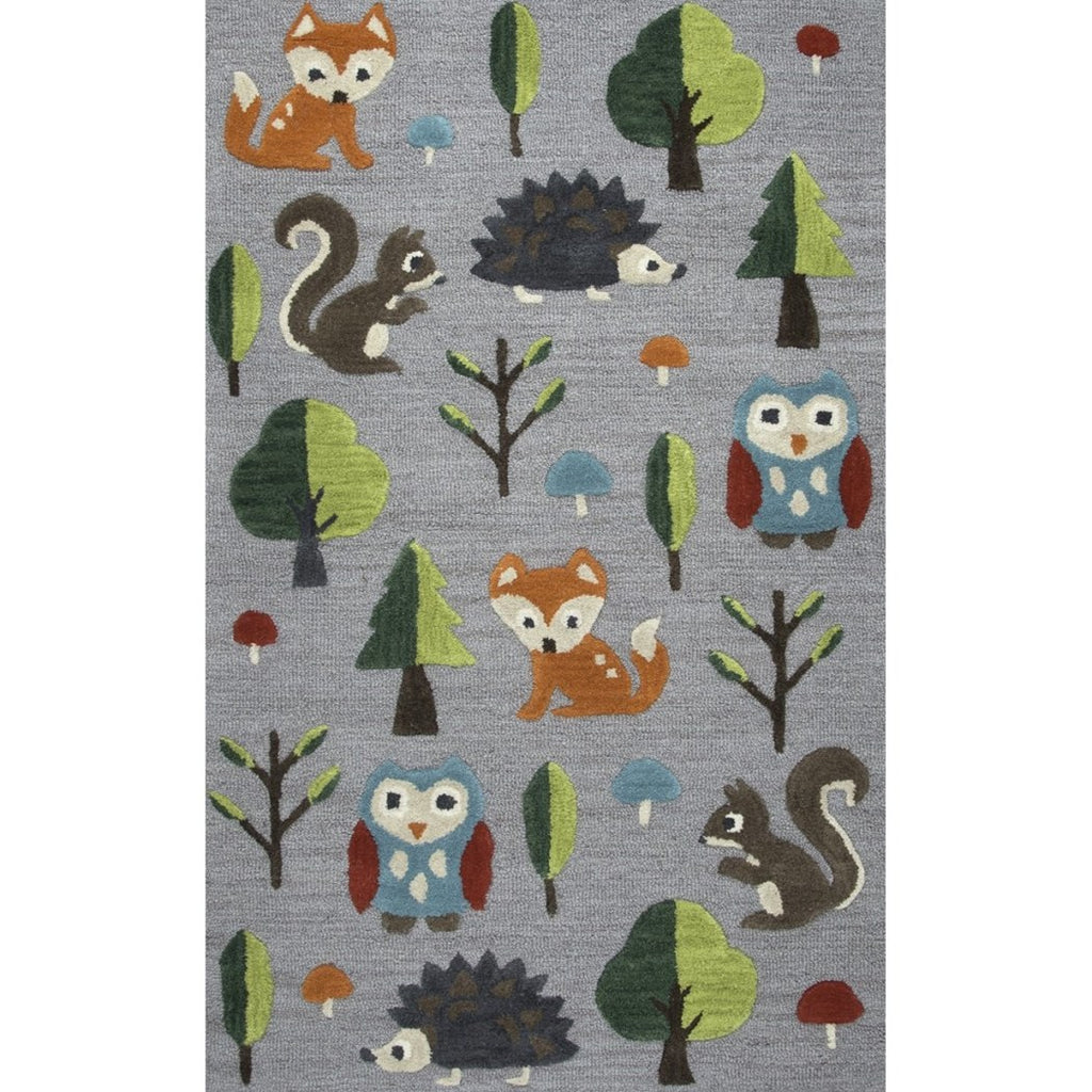 3'x5' Kids Grey Green Orange Trees Squirrels Owls Hedgehog Printed Area Rug Indoor Graphical Pattern Playroom Rectangle Carpet Graphic Art Themed - Diamond Home USA