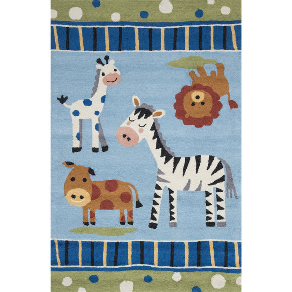3'6x5'6 Kids Blue White Safari Animals Area Rug Rectangle Shaped Indoor Brown Cow Lion Carpet Bedroom Zebra Floor Mat Farm Zoo Jungle Stripes - Diamond Home USA