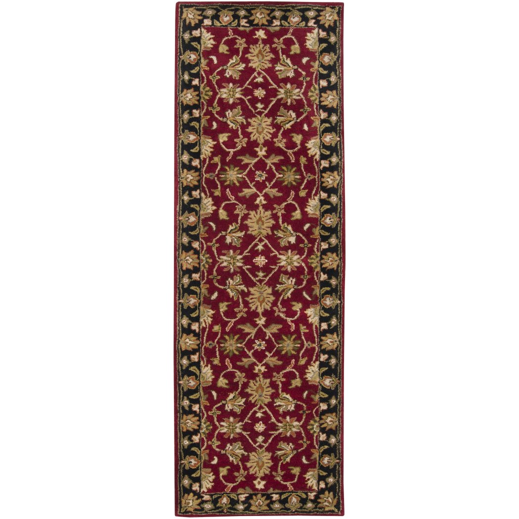 2'6 x 8' Black Red Oriental Runner Rug Rectangle Indoor Burgundy Beige Flower Theme Hallway Carpet Green Flowers Geometric Medallion Entryway - Diamond Home USA