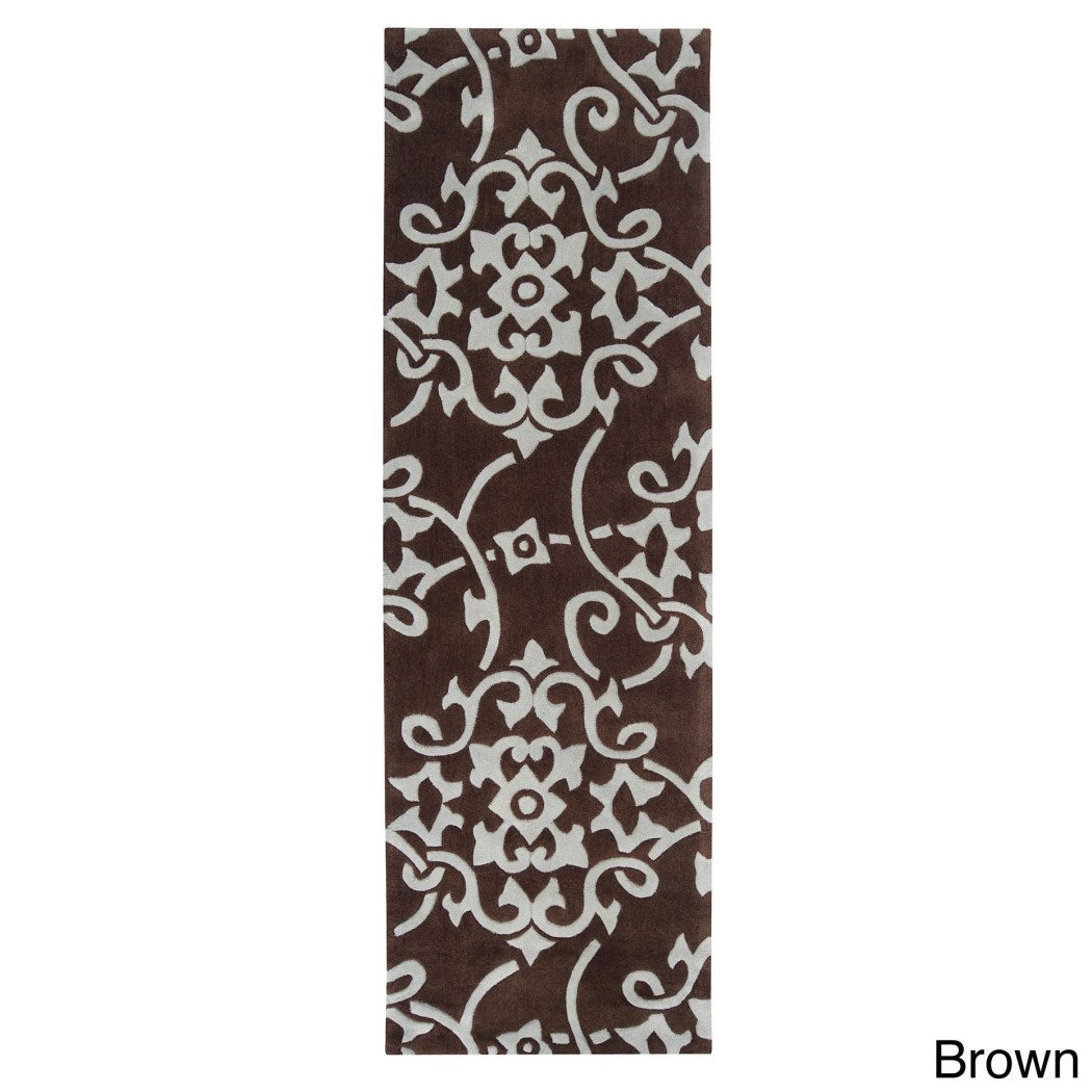 "2'6"" X 8' Floral Geometric Runner Rug Indoor Flower Scroll Design Boho Chic Hippie Hallway Entryway Rectangle Carpet Large Classic Flooring"