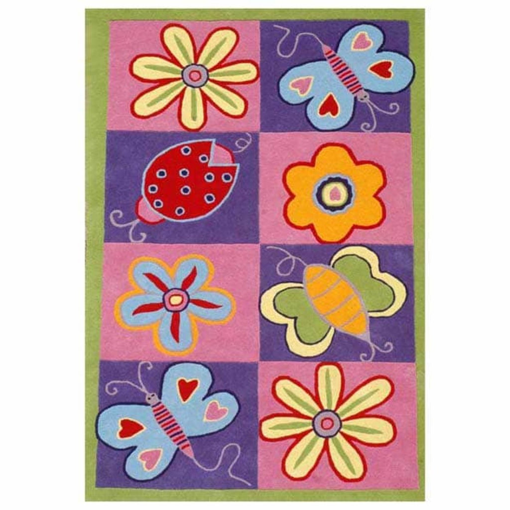 3'x5' Kids Purple Pink Butterflies Flowers Ladybugs Printed Area Rug Indoor Graphical Pattern Living Room Rectangle Carpet Graphic Art Themed Vibrant - Diamond Home USA