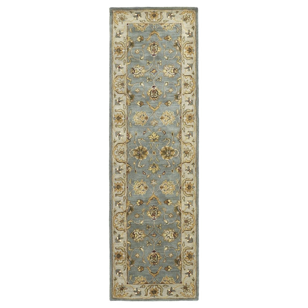 Hand Tufted Blue Floral Wool Rug Gorgeous Paisley Pattern Country Traditional Royal Oriental Hand Work Design Blue - Diamond Home USA