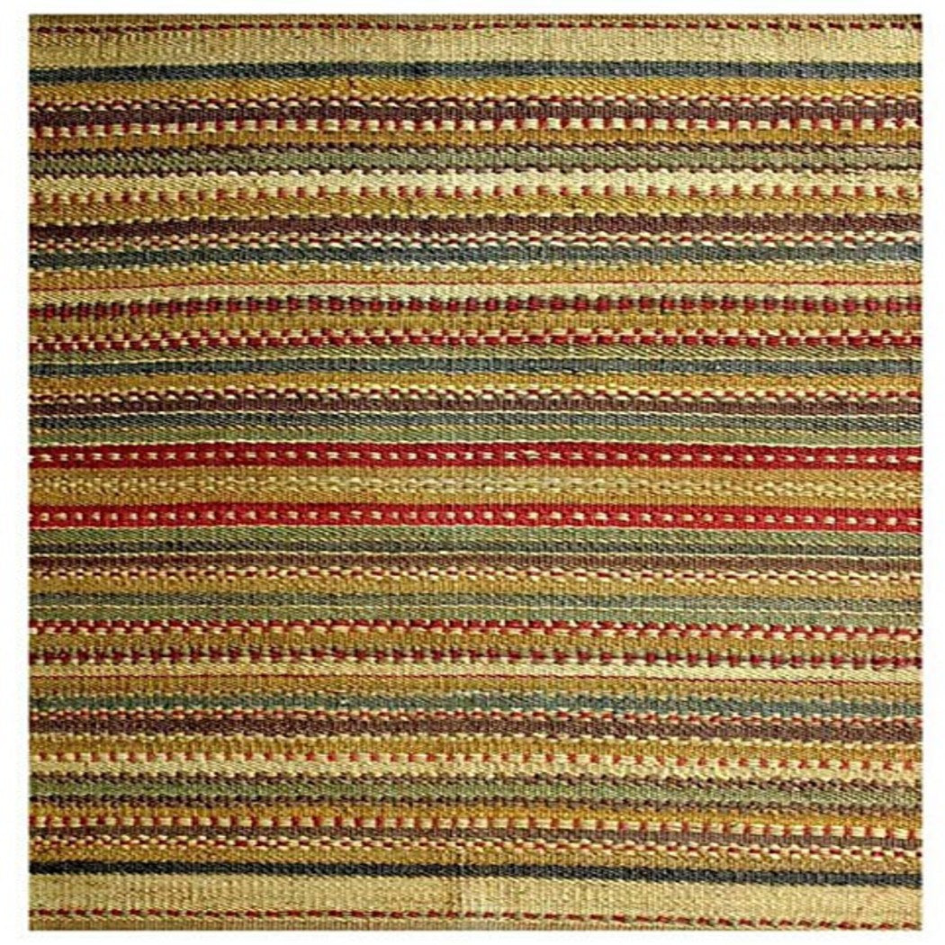 4ft X 6ft Rainbow Green Jute Area Rug Hand Woven Sindhi Stripe Indian Colored Mid Eastern Themed Rectangle Carpet Bohemian Tribal Southwestern Light - Diamond Home USA