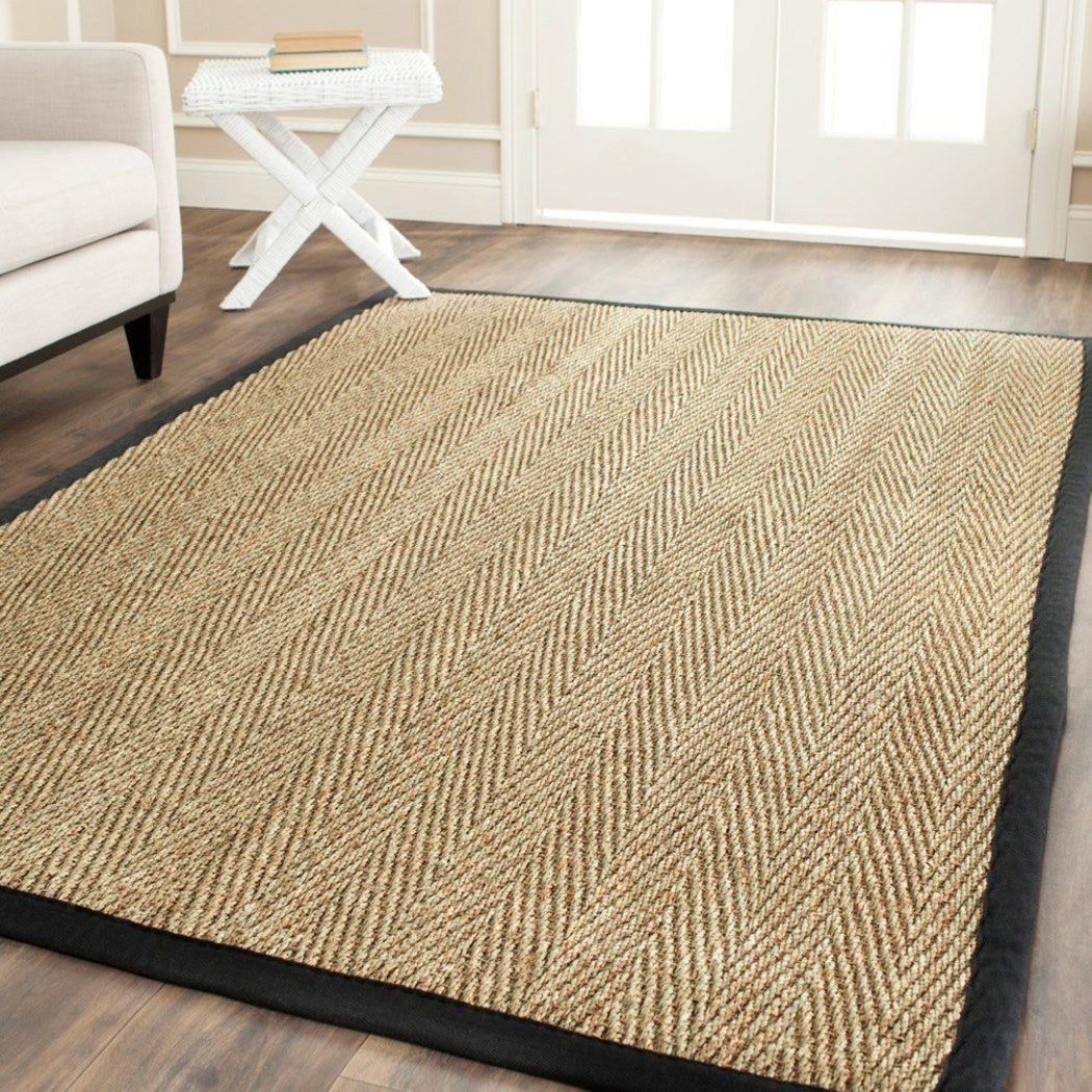 3x5ft Beige Brown Black Border Pattern Area Rug Indoor Coastal Bohemian Basketweave Seagrass Living Room Flooring Rectangle Carpet Handmade Latex Free - Diamond Home USA