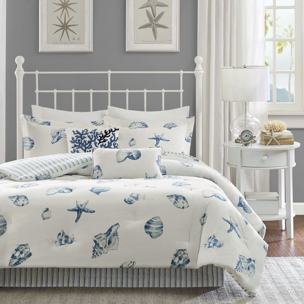 Beach Themed Comforter Set Sea Shell Star Fish Bedding Coastal Ocean Pattern Life Nautical Summer House Cottage Stripes