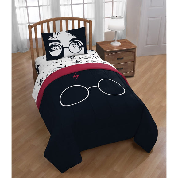 Kids Black Red Harry Potter Comforter Sheets Twin Set White Potter Glasses Head Mark Bedding Kids Fun Magical Harry Potter Movie Themed Potterheads - Diamond Home USA
