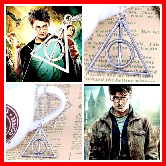 Harry Potter Triangle Pendant Movie Necklace The Deathly Hallows Jewelry Antique Silver Plated Link Chain - Diamond Home