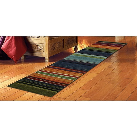 Native Rainbow Striped Runner Rug Colored Hallway Entrance Way Tribal Colors Southwest Carpet Long Narrow Skinny Black Blue Green Orange Purple Red - Diamond Home USA