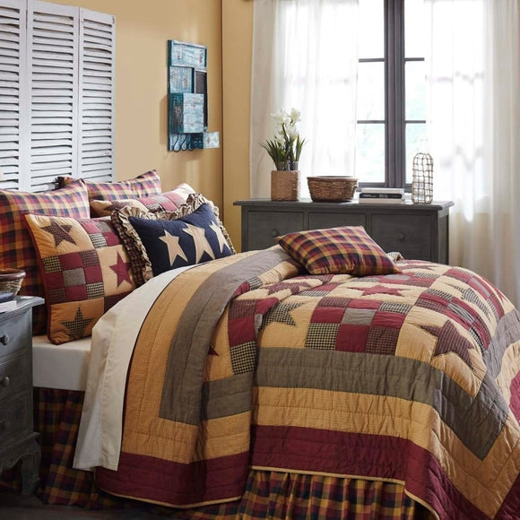 Quilt Set Patchwork Pattern Themed Bedding Modern Stylish Star Plaid Chic Geometric Trendy Western