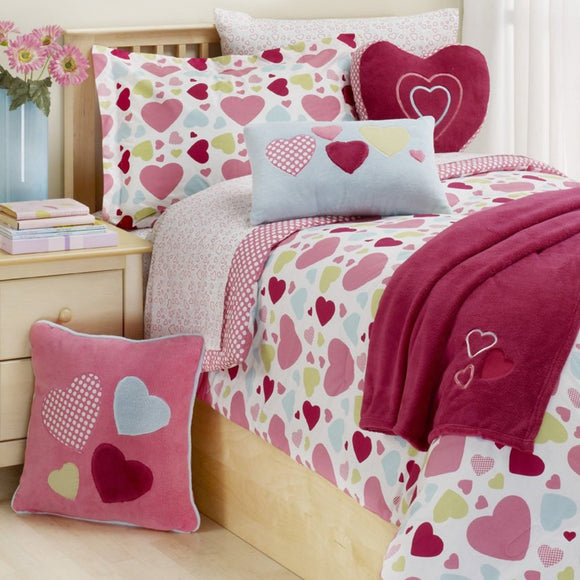 Girls Heart Themed Comforter Twin Set Cute Colorful Hearts Pattern Polka Dots Heart Icons Bedding Pretty Abstract Colors Blue Green Pink Red Teenage - Diamond Home USA