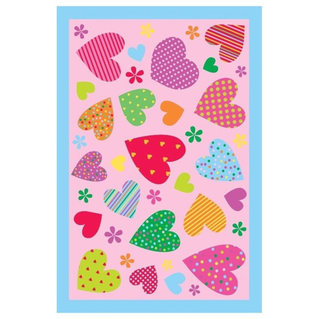 "3'3""x4'8"" Girls Pink Purple Red Polka Dots Striped Hearts Flowers Printed Accent Rug Indoor Dots Pattern Living Room Rectangle Carpet Graphic Art - Diamond Home USA"