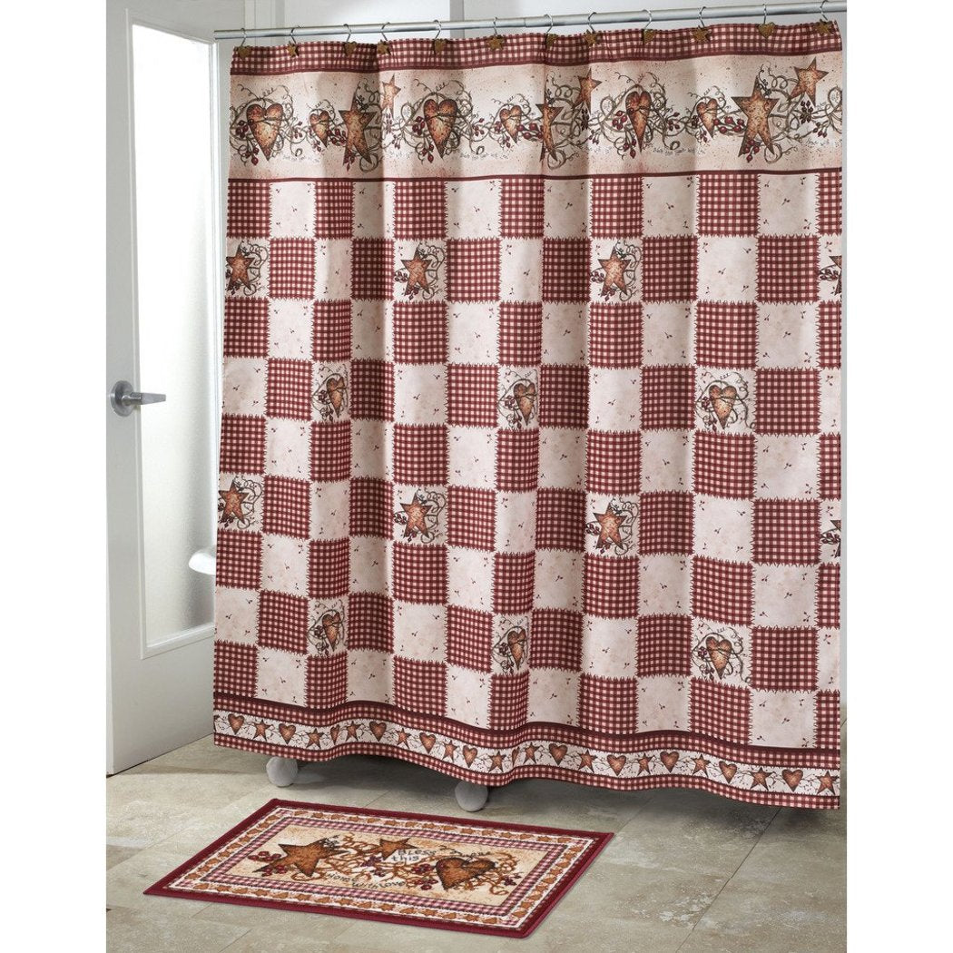 Ivory Red Cream Brown Motif Grid Pattern Shower Curtain Modern Hearts Stars Printed Check Pattern Rustic Country Themed Modern Elegant Design - Diamond Home USA