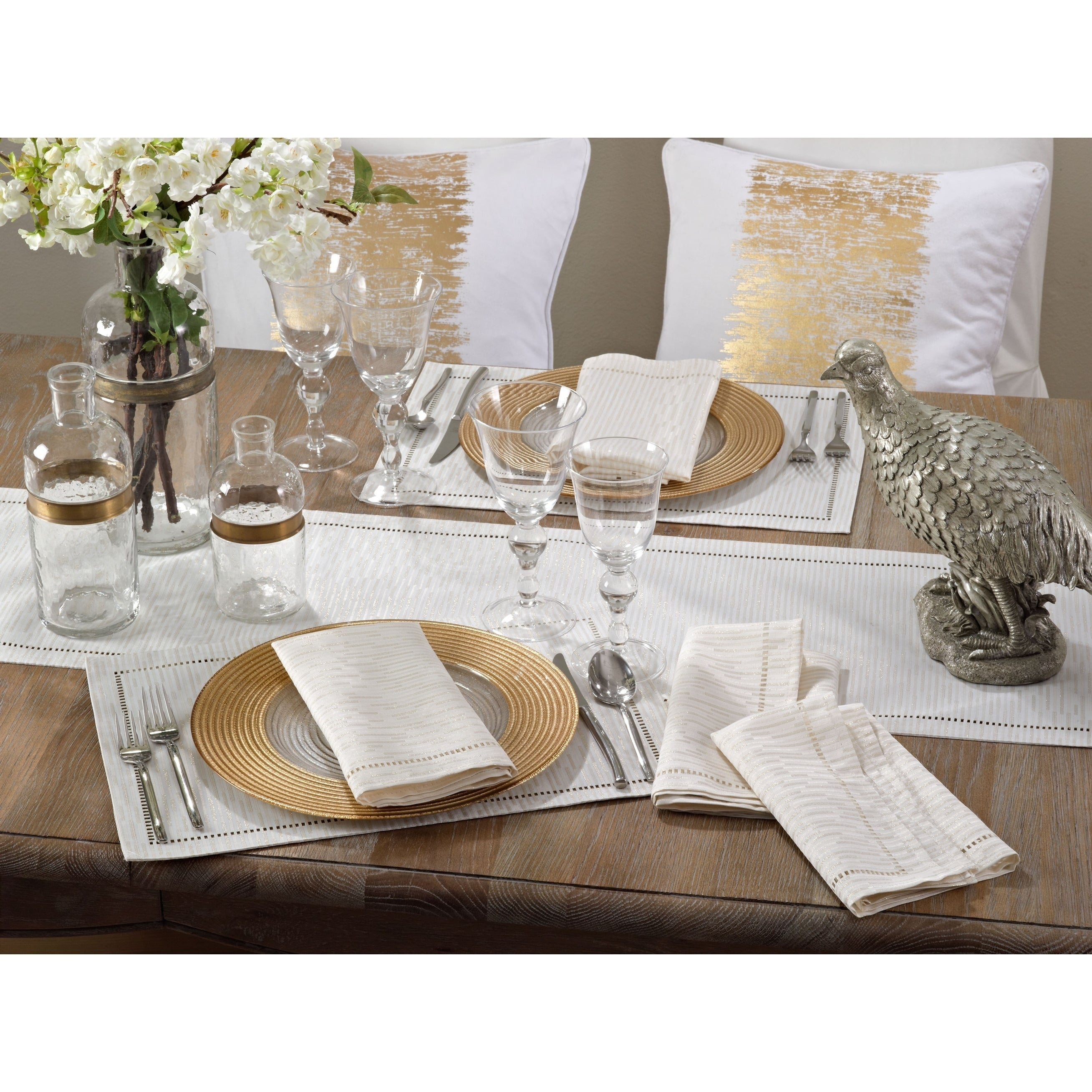 Hemstitched Design Placemat (Set of 12) Off-white Casual Classic Modern Contemporary Rectangle Polyester - Diamond Home USA