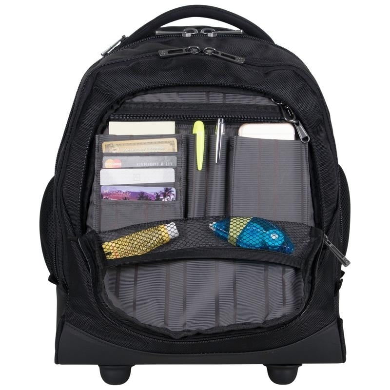 Heritage 17in Lightweight Dual Compartment 13in Laptop 2-Wheel Pullman Mobile Office / Underseater Business Carry On Bag - n/a Black Solid Polyester Multi-compartment Rolling Lined - Diamond Home USA