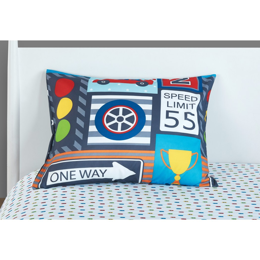 Kids Transportation Themed Comforter Toddler Set Adorable Animated Road Traffic Pattern Bus Signal Scooter Taxi Pretty Blue Green White Small Cars - Diamond Home USA