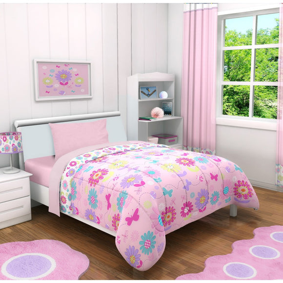 Girls Floral Themed Comforter Toddler Set Cute Butterflies Daisy Flowers Fun Pattern Dancers Pattern Pretty Pink Purple Yellow Blue Colorful Designs - Diamond Home USA