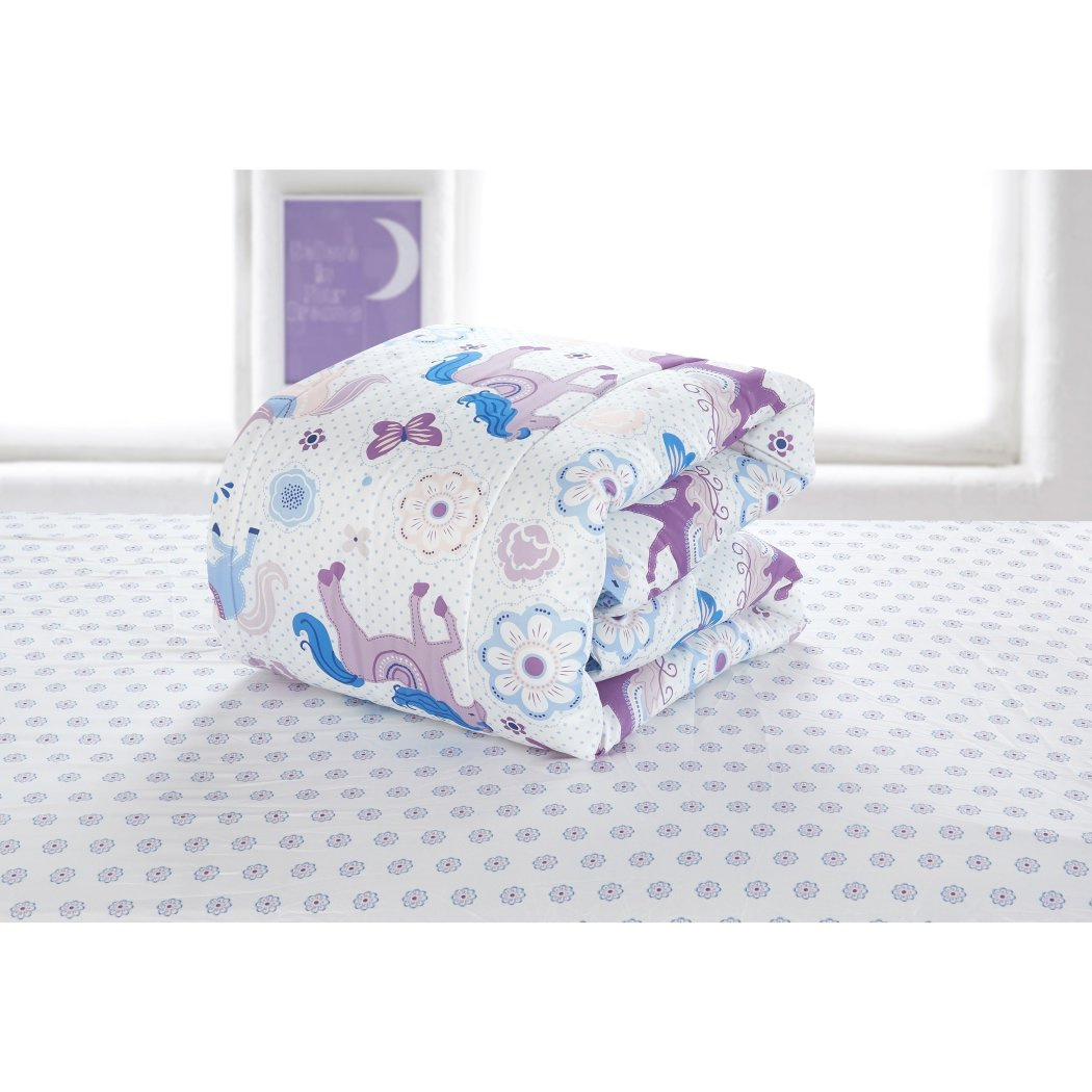 Girls Pretty Horses Themed Comforter Toddler Set Adorable Colorful Cute Butterfly Floral Animal Fun Pattern Charming Flowers Bedding Bright Blue - Diamond Home USA