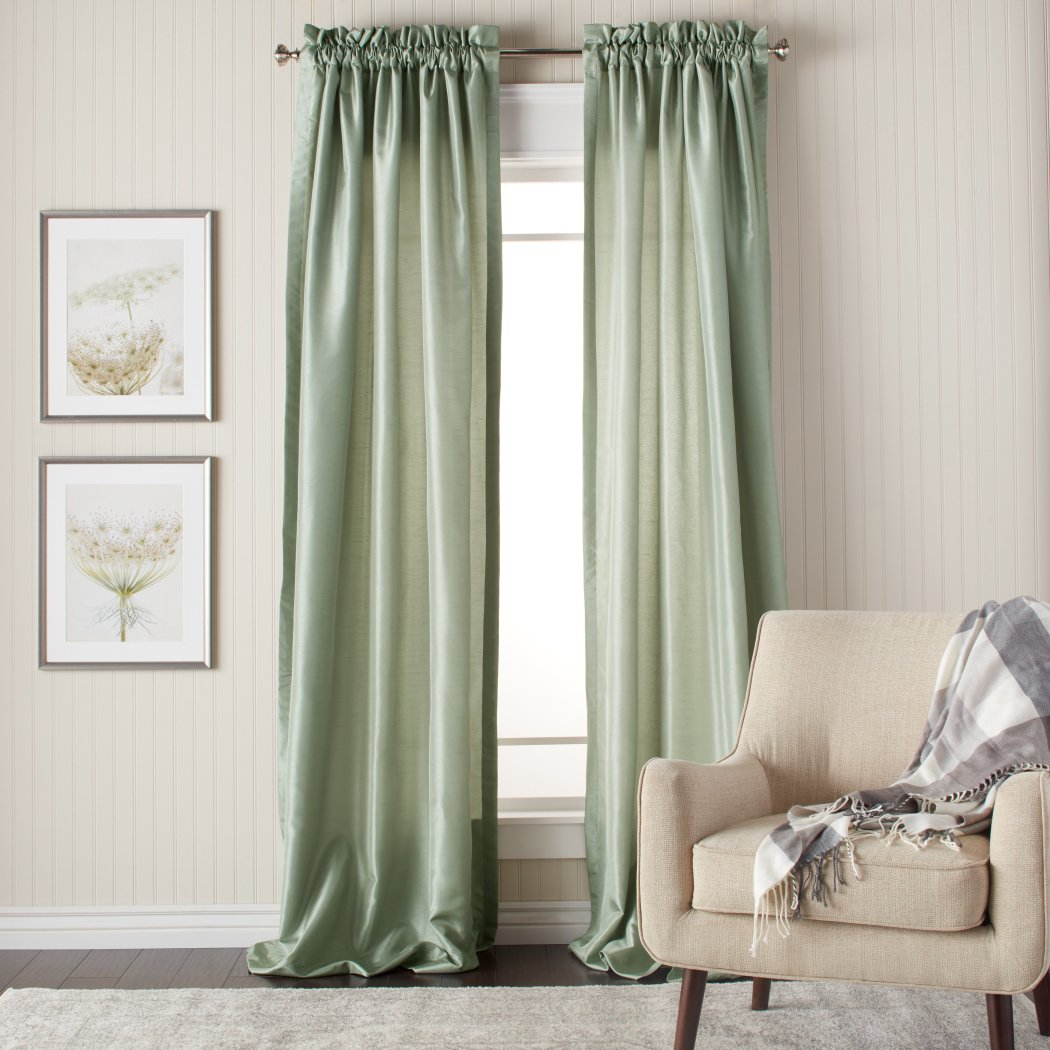 Faux Silk Curtains Panel Pair Set Window Rod Pocket Drapes Puckered Tufted Texture Pattern Stylish Modern