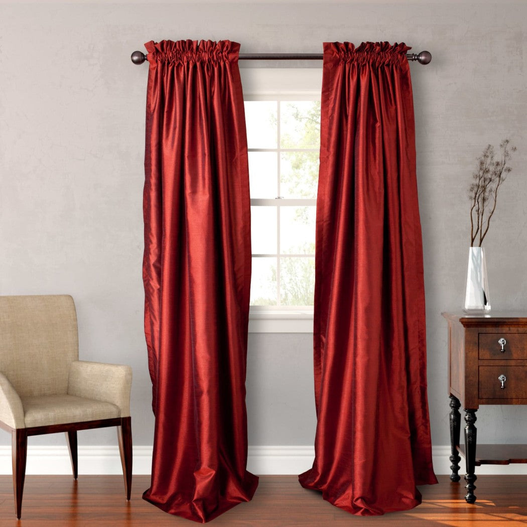 Faux Silk Curtains Panel Pair Set Window Rod Pocket Drapes Puckered Tufted Texture Pattern Stylish