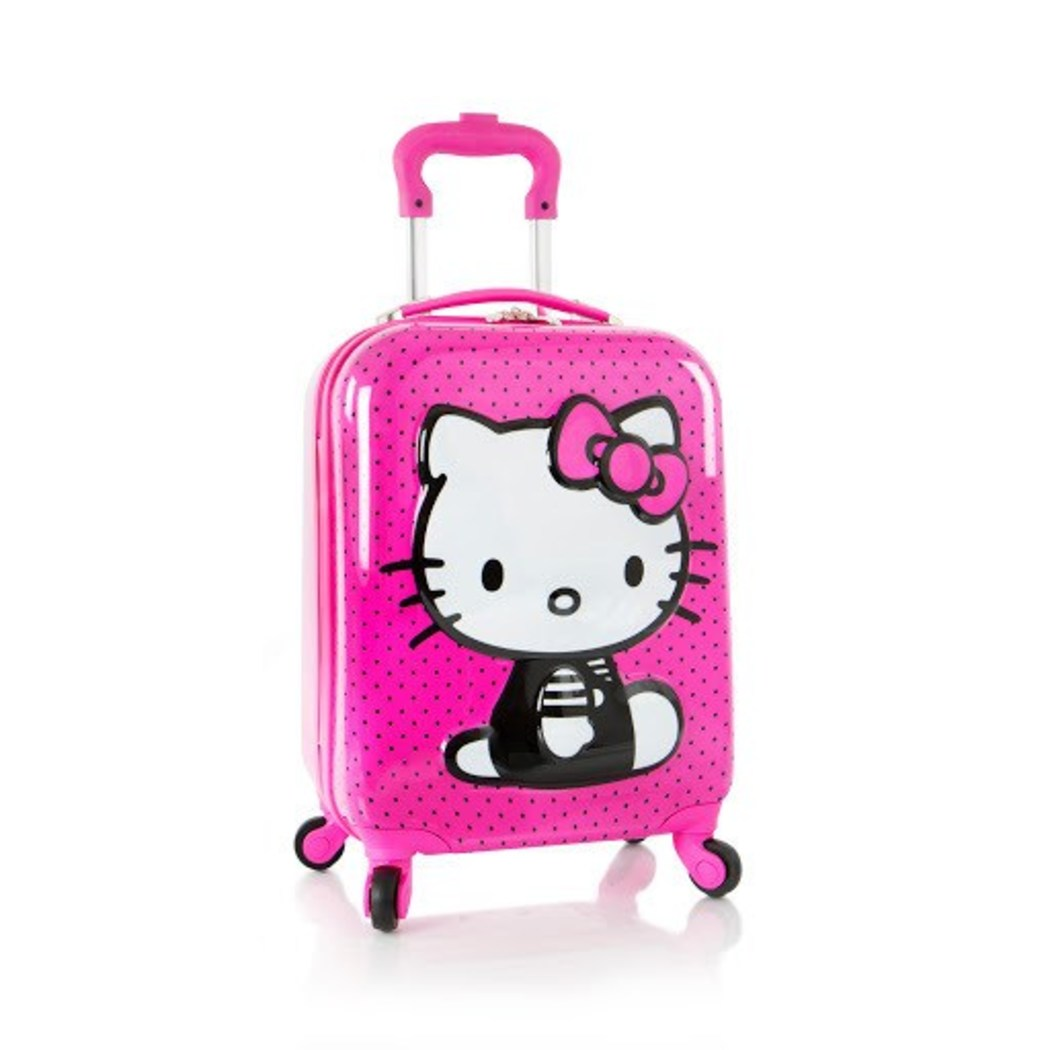 18 Inch Kids Pink Hello Kitty Themed Suitcase Hardside Luggage Cute Adorable - Diamond Home USA